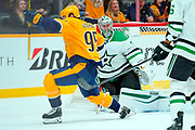 Dallas Stars goaltender Anton Khudobin (35) reacts after Nashville Predators center Matt Duchene's goal (95)during an NHL game between the Dallas Stars and Nashville Predators at Bridgestone Arena in Nashville, TN