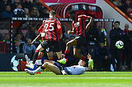 Red Card - Juan Foyth (21) of Tottenham Hotspur slides in on Jack Simpson (25) of AFC Bournemouth and is show a red card for his dangerous tackle during the Premier League match between Bournemouth and Tottenham Hotspur at the Vitality Stadium, Bournemouth, England on 4 May 2019.