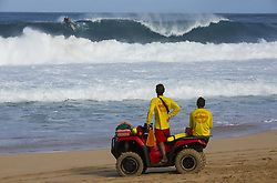December 8, 2017 - Banzai Pipeline, HI, USA - BANZAI PIPELINE, HI - DECEMBER 8, 2017 - Hawaiian life guards watch the Banzai Pipeline break during the Men's Pipe Invitational. (Credit Image: © Erich Schlegel via ZUMA Wire)