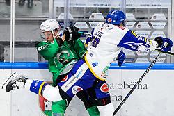 Tadej Cimzar of HK SZ Olimpija vs Derek Joslin of EC Grand Immo VSV during ice hockey match between HK SZ Olimpija Ljubljana and EC GRAND Immo VSV in bet-at-home ICE Hockey League, on October 22, 2021 in Hala Tivoli, Ljubljana, Slovenia. Photo by Morgen Kristan / Sportida