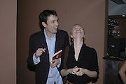 Tom Sykes and Rebecca Newman,  Book launch for ' What Did I Do last night' by Tom Sykes. Century Club. Shaftesbury Ave. London. 16 January 2006. -DO NOT ARCHIVE-© Copyright Photograph by Dafydd Jones. 248 Clapham Rd. London SW9 0PZ. Tel 0207 820 0771. www.dafjones.com.