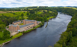 Aerial view of historic preserved Stanley Mills former cotton mills factory situated next to River Tay in Stanley, Perthshire, Scotland, UK