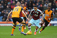 Andre Gray of Burnley looks to take on Michael Dawson of Hull City.  Skybet football league Championship match, Burnley v Hull city at Turf Moor in Burnley ,Lancs on Saturday 6th February 2016.<br /> pic by Chris Stading, Andrew Orchard sports photography.