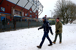 Burnley Fans arrive at the stadium despite the snow before the Premier League match at Turf Moor, Burnley.