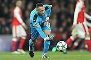 Goalkeeper David Ospina of Arsenal in action. UEFA Champions league group A match, Arsenal v Paris Saint Germain at the Emirates Stadium in London on Wednesday 23rd November 2016.<br /> pic by John Patrick Fletcher, Andrew Orchard sports photography.