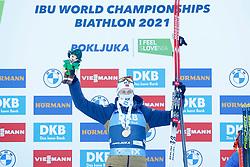 Winner Sturla Holm Laegreid of Norway  celebrates. at medal ceremony during the IBU World Championships Biathlon 15 km Mass start Men competition on February 21, 2021 in Pokljuka, Slovenia. Photo by Vid Ponikvar / Sportida
