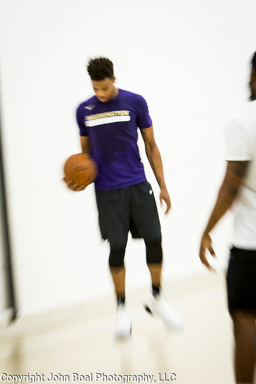 """Markelle Fultz worked out at the North Laurel Community Center ahead of the NBA Draft, in Laurel, MD, on Monday, June 12, 2017. Fultz, 19, a 6'6"""" point guard, played one year at the University of Washington and is expected to be the first pick in the NBA draft by the Boston Celtics. John Boal/for The Boston Globe"""