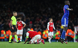 Pierre-Emerick Aubameyang of Arsenal drops to his knees at the final whistle - Mandatory by-line: Arron Gent/JMP - 27/02/2020 - FOOTBALL - Emirates Stadium - London, England - Arsenal v Olympiacos - UEFA Europa League Round of 32 second leg