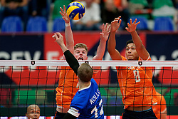 17-09-2019 NED: EC Volleyball 2019 Netherlands - Estonia, Amsterdam<br /> First round group D - Netherlands win 3-1 / Gijs van Solkema #15 of Netherlands, Fabian Plak #8 of Netherlands