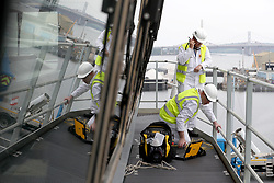 Final preparations are made on the bridge ahead of sea trials this summer, for the Royal Navy's new aircraft carrier HMS Queen Elizabeth, at Rosyth Dockyard in Dunfermline.