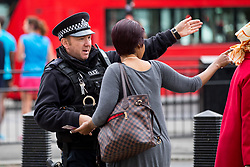 © Licensed to London News Pictures. 16/09/2017. London, UK. Police talk to members of the public following a terror attack in Parsons Green, West London yesterday (Friday) morning. Last night, British Prime Minister Theresa May raised the terror threat level from severe to critical. The terror suspect is still at large. Photo credit : Tom Nicholson/LNP
