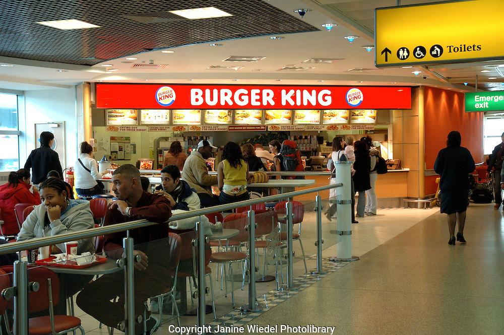 Burger King fast food restaurant at Heathrow airport.