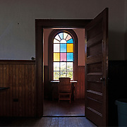 """Window 4 on plan. 35""""w x 6'10""""h<br /> <br /> Otter Creek Hall, Otter Creek, Maine. Completed 1904."""