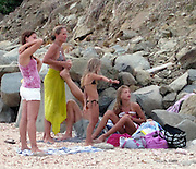 **EXCLUSIVE**.Swedish Actor Dolph Lundgren and wife Anette with their daughters Ida, 12, and Greta, 7 on the Beach..St. Barth, Caribbean..Thursday January 02, 2009..Photo By Celebrityvibe.com..To license this image please call (212) 410 5354; or Email: celebrityvibe@gmail.com ;.website: www.celebrityvibe.com