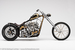 Fresno Flash, a custom motorcycle built from a 41 FL water cooled Petruzzi by Ronnie Webber of Clovis, CA. Photographed by Michael Lichter in Sacramento, CA, USA on 1/11/19. ©2019 Michael Lichter.