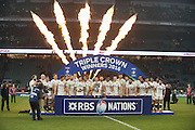 Twickenham. Great Britain.<br /> Engand pose for a victory pictue after beating Wales at the  RBS Six Nations Rugby, England vs Wales at the RFU Twickenham Stadium. England.<br /> <br /> Saturday  12/03/2016 <br /> <br /> [Mandatory Credit; Peter Spurrier/Intersport-images]