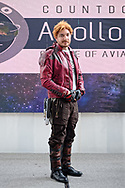 Garden City, New York, U.S. July 20, 2019. Dom Charland, as Peter Quill or Star-Lord character from The NY Avengers Cosplay Group, a not-for-profit, stands on stage during the Moon Fest Apollo at 50 Countdown Celebration happening at Cradle of Aviation Museum in Long Island at the time Apollo 11 Lunar Module, The Eagle, landed on the Moon 50 years ago.