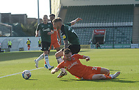 Blackpool's Oliver Turton battles with Plymouth Argyle's Danny Mayor<br /> <br /> Photographer Ian Cook/CameraSport<br /> <br /> The EFL Sky Bet League One - Plymouth Argyle v Blackpool - Saturday September 12th 2020 - Home Park - Plymouth<br /> <br /> World Copyright © 2020 CameraSport. All rights reserved. 43 Linden Ave. Countesthorpe. Leicester. England. LE8 5PG - Tel: +44 (0) 116 277 4147 - admin@camerasport.com - www.camerasport.com