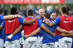 Matt Garvey of Bath Rugby speaks to his team-mates in a pre-match huddle - Mandatory byline: Patrick Khachfe/JMP - 07966 386802 - 25/08/2017 - RUGBY UNION - Donnybrook Stadium - Dublin, Republic of Ireland - Leinster Rugby v Bath Rugby - Pre-season Friendly