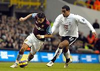 Photo: Ed Godden.<br /> Tottenham Hotspur v Aston Villa. The Barclays Premiership. 26/12/2006. Villa's Milan Baros (L), makes his way pastTom Huddlestone.