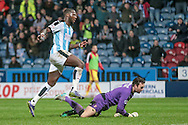 Ishmael Miller (Huddersfield Town) scores Town's second goal during the Sky Bet Championship match between Huddersfield Town and Rotherham United at the John Smiths Stadium, Huddersfield, England on 15 December 2015. Photo by Mark P Doherty.
