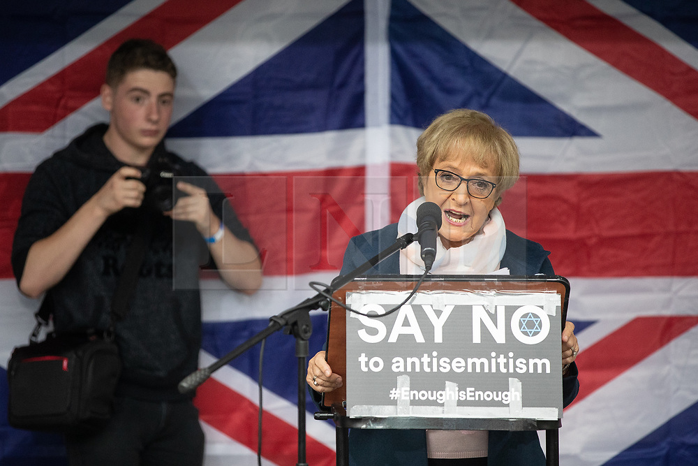 © Licensed to London News Pictures . 16/09/2018. Manchester, UK. DAME MARGARET HODGE . Thousands of people including the UK's Chief Rabbi and several Members of Parliament attend a demonstration against rising anti-Semitism in British politics and society , at Cathedral Gardens in Manchester City Centre . Photo credit : Joel Goodman/LNP
