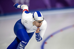 February 18, 2018 - Pyeongchang, South Korea - Elina RISKU, left, of Finland in action during the Speed Skating Ladies' 500m at the Gangneung Oval during the 2018 Pyeongchang Winter Olympic Games. (Credit Image: © Daniel A. Anderson via ZUMA Wire)