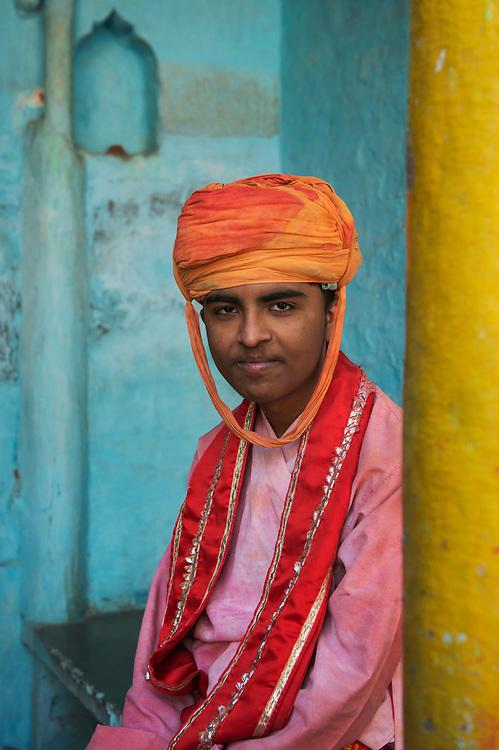 A Barsana young men during Lathmar Holi, Barsana, Uttar Pradesh