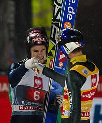 06.01.2013, Paul Ausserleitner Schanze, Bischofshofen, AUT, FIS Ski Sprung Weltcup, 61. Vierschanzentournee, Bewerb, im Bild Anders Jacobsen (NOR), Gesamtsieger Gregor Schlierenzauer (AUT) jubelt // Anders Jacobsen of Norway and Overall Winner Gregor Schlierenzauer of Austria celebrates during Competition of 61th Four Hills Tournament of FIS Ski Jumping World Cup at the Paul Ausserleitner Schanze, Bischofshofen, Austria on 2013/01/06. EXPA Pictures © 2012, PhotoCredit: EXPA/ Juergen Feichter