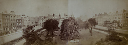 Kensington Square photographed looking towards the west in 1872 in a book of old photographs to be auctioned at Bonhams. Bonhams, Knightsbridge, London, November 23 2018.