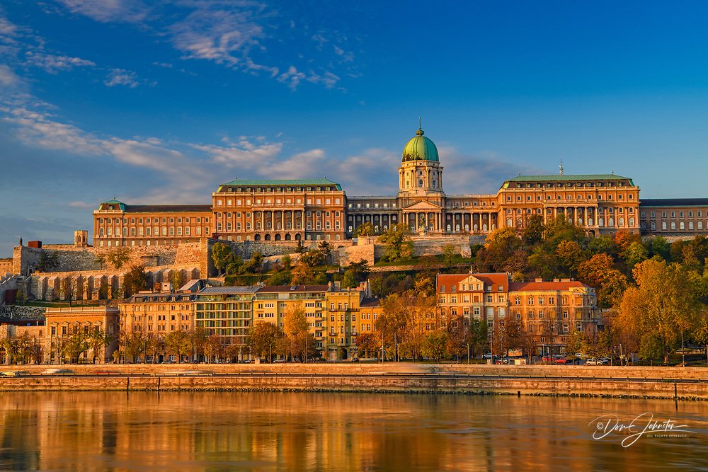 Buda Castle reflected in the Danube River, Budapest, Central Hungary, Hungary