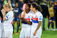 Kadeisha Buchanan of Olympique Lyon and Dzsenifer Marozs·n of Olympique Lyon celebrate the victory during the UEFA Women's Champions League Final between Lyon Women and Paris Saint Germain Women at the Cardiff City Stadium, Cardiff, Wales on 1 June 2017. Photo by Giuseppe Maffia.<br /> <br /> Giuseppe Maffia/UK Sports Pics Ltd/Alterphotos