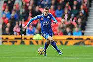 Jamie Vardy of Leicester City in action. Premier league match, Stoke City v Leicester City at the Bet365 Stadium in Stoke on Trent, Staffs on Saturday 4th November 2017.<br /> pic by Chris Stading, Andrew Orchard sports photography.