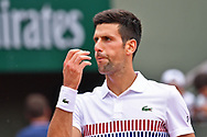Novak Djokovic (SRB) feels early pressure during the mens singles third round of the Roland Garros Tennis Open 2017 at  at Roland Garros Stadium, Paris, France on 2 June 2017. Photo by Jon Bromley.