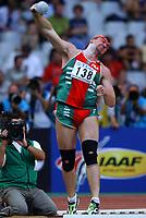 Friidrett<br /> VM 2003 Paris<br /> 23.08.2003<br /> NORWAY ONLY<br /> Foto: Digitalsport<br /> <br /> ATHLETICS - IAAF WORLD CHAMPIONSHIPS 2003 - PARIS 2003 - STADE DE FRANCE - PHOTO : FRANCK FAUGERE <br /> <br /> SHOT PUT MEN - ANDREI MINKHNEVICH / MINKHNEVITSJ (BLR) / WINNER / GOLD MEDAL