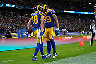 LA Rams Wide Receiver Cooper Kupp (18) celebrates his touchdown during the International Series match between Los Angeles Rams and Cincinnati Bengals at Wembley Stadium, London, England on 27 October 2019.