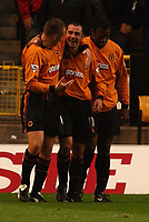 PIC BY DANIEL HAMBURY/SPORTSBEAT IMAGES<br /><br />Wolves' Colin Cameron (centre) celebrates his winning goal with team mates