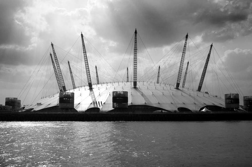 o2 Arena, shot from a boat on the River Thames
