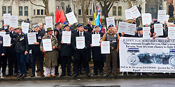 © Licensed to London News Pictures. 03/02/2018. LONDON, UK.  Justice of Northern Ireland Veterans parade through central London. The organization is campaigning against the prosecutions of army personnel for actions during the Troubles in Northern Ireland.  Photo credit: Cliff Hide/LNP