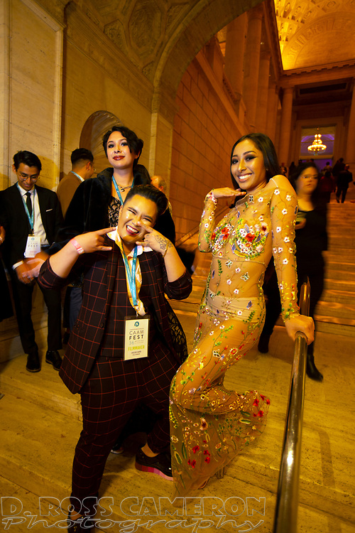 Actors Chelsea Chang, from left, Janei Chin, and Sheila Bauzon pose for a photograph at the Gala for the CAAM Film Festival, at the Asian Art Museum, Thursday, May 10, 2018 in San Francisco, Calif. (D. Ross Cameron/SF Chronicle)