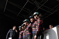 CANYON//SRAM Racing riders line up on the podium before the AG Driedaagse Brugge-De Panne - a 134.4 km road race, between Brugge and De Panne on April 21, 2018, in West Flanders, Belgium. (Photo by Balint Hamvas/Velofocus.com)