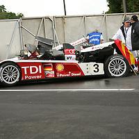 #3 Audi R10 TDI after accident - Audi Sport Team Joest (Drivers - Lucas Luhr, Mike Rockenfeller and Alexandre Prémat) LMP1, Le Mans 24Hr 2007