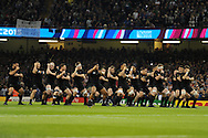 New Zealand players perform the 'Haka' before the match starts. Rugby World Cup 2015 pool c match, New Zealand v Georgia at the Millennium Stadium in Cardiff, South Wales  on Friday 2nd October 2015.<br /> pic by  Andrew Orchard, Andrew Orchard sports photography.