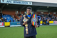 Boxer Lerrone Richards on Kingsmeadow/ Cherry Red Records Stadium pitch during the EFL Sky Bet League 1 match between AFC Wimbledon and Peterborough United at the Cherry Red Records Stadium, Kingston, England on 18 January 2020.