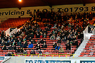 Yeovil Town travelling fans during the EFL Sky Bet League 2 match between Swindon Town and Yeovil Town at the County Ground, Swindon, England on 10 April 2018. Picture by Graham Hunt.
