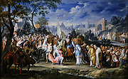 'Entry of Alexander the Great into Babylon'. Babylon surrendered to Alexander, kneeling in centre of picture, in 331 BC. Johann Georg Platzer (1704-1761) Austrian painter.Oil on copper. Private collection.