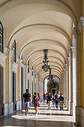Arcades of Pombal's reconstruction in Praca do Comercio -Terreiro do Paço, in the City of Lisbon, Portugal