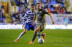 Daniel Drinkwater (ENG) of Leicester City is challenged by Jobi McAnuff (JAM) of Reading - Photo mandatory by-line: Rogan Thomson/JMP - 07966 386802 - 14/04/2014 - SPORT - FOOTBALL - Madejski Stadium, Reading - Reading v Leicester City - Sky Bet Football League Championship.