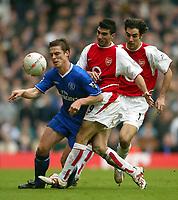 Photo: Scott Heavey.<br /> Arsenal v Chelsea. FA Cup 5th Round. 15/02/2004.<br /> Jose Reyes shoves Scott Parker off the ball