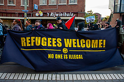 November 3, 2018 - The Hague, Netherlands - Anti-Fascist Action (AFA) organized a nationwide demonstration in the Hague under the motto: 'No one is illegal. Down with fortress Europe. Freedom of movement for all.' Hundreds of people gathered to make a loud and clear statement against Europe's migration policies and to call for freedom of movement for all. Also to express their solidarity with refugees and migrants and take a stand against racism and exclusion. (Credit Image: © Romy Arroyo Fernandez/NurPhoto via ZUMA Press)